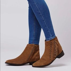 Topshop kit brown fringe booties low heel suede